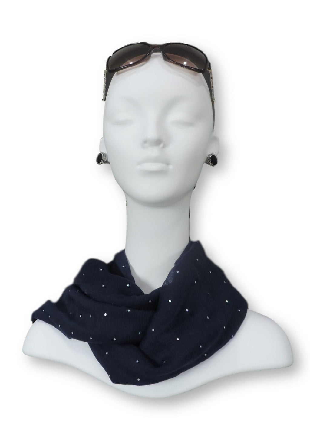 Navy Blue Embellished Viscose Scarf - Global Trendz Fashion®