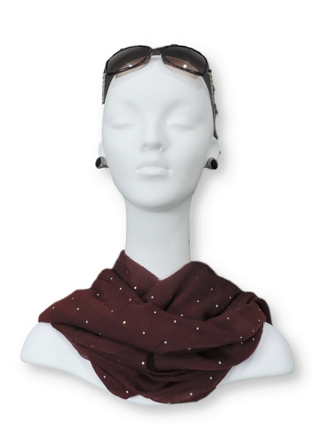 Maroon Embellished Viscose Scarf - Global Trendz Fashion®