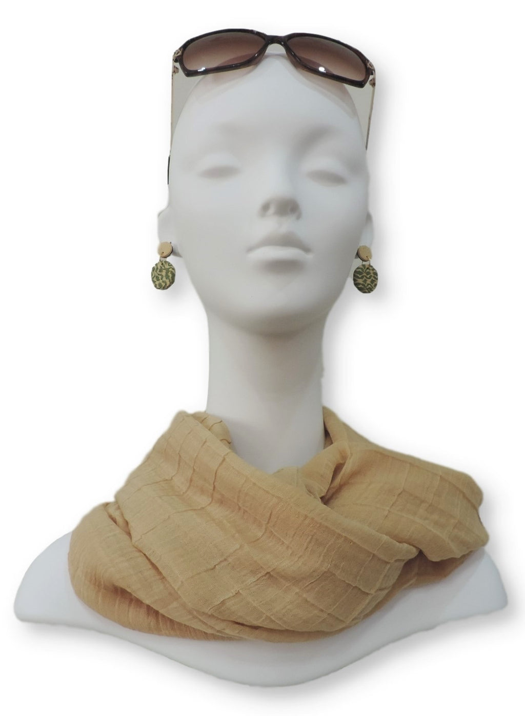 Honey Beige Cotton Pleated Scarf - Global Trendz Fashion®