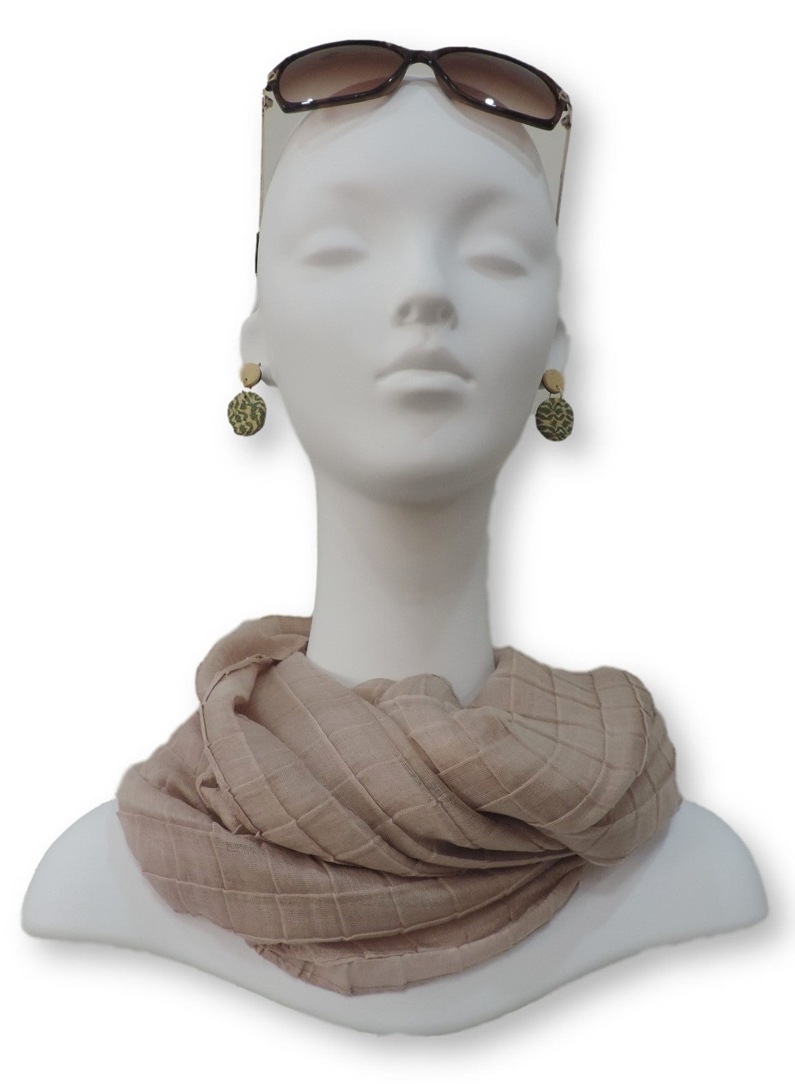 Beige Cotton Pleated Scarf - Global Trendz Fashion®
