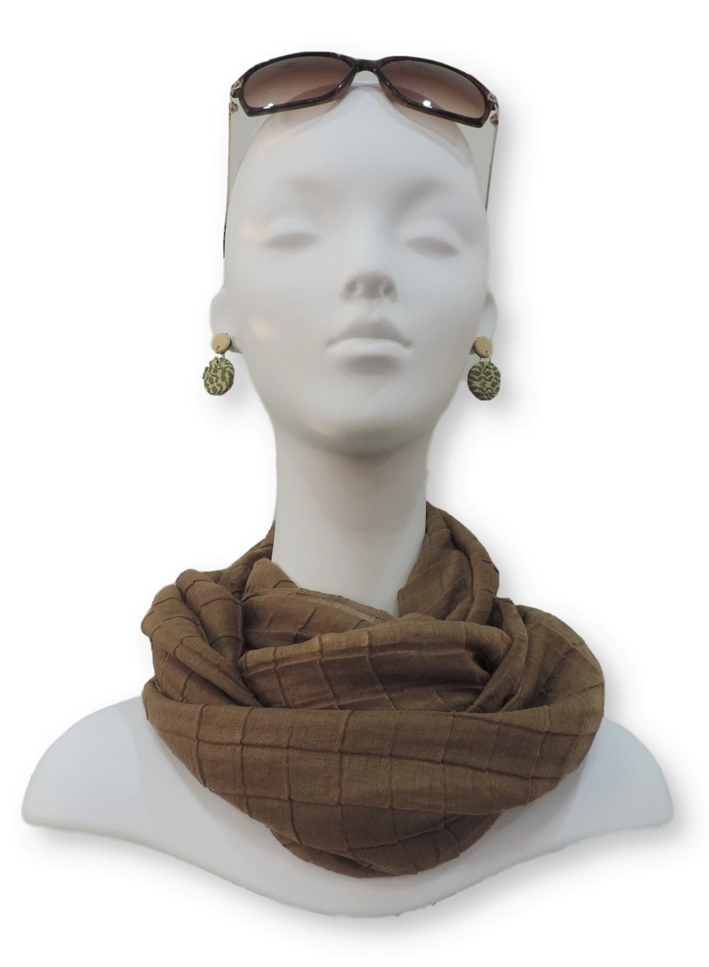 Dark Brown Cotton Pleated Scarf - Global Trendz Fashion®