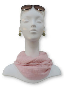 Cute Pink Cotton Pleated Scarf - Global Trendz Fashion®