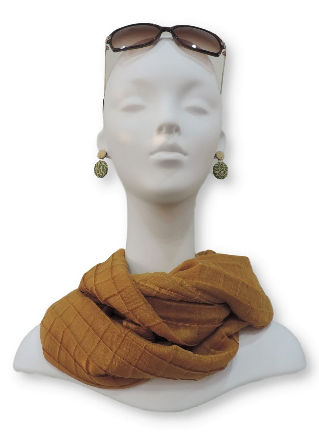 Mocha Brown Cotton Pleated Scarf - Global Trendz Fashion®