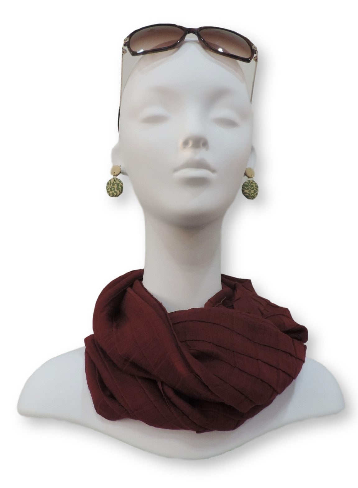 Maroon Cotton Pleated Scarf - Global Trendz Fashion®