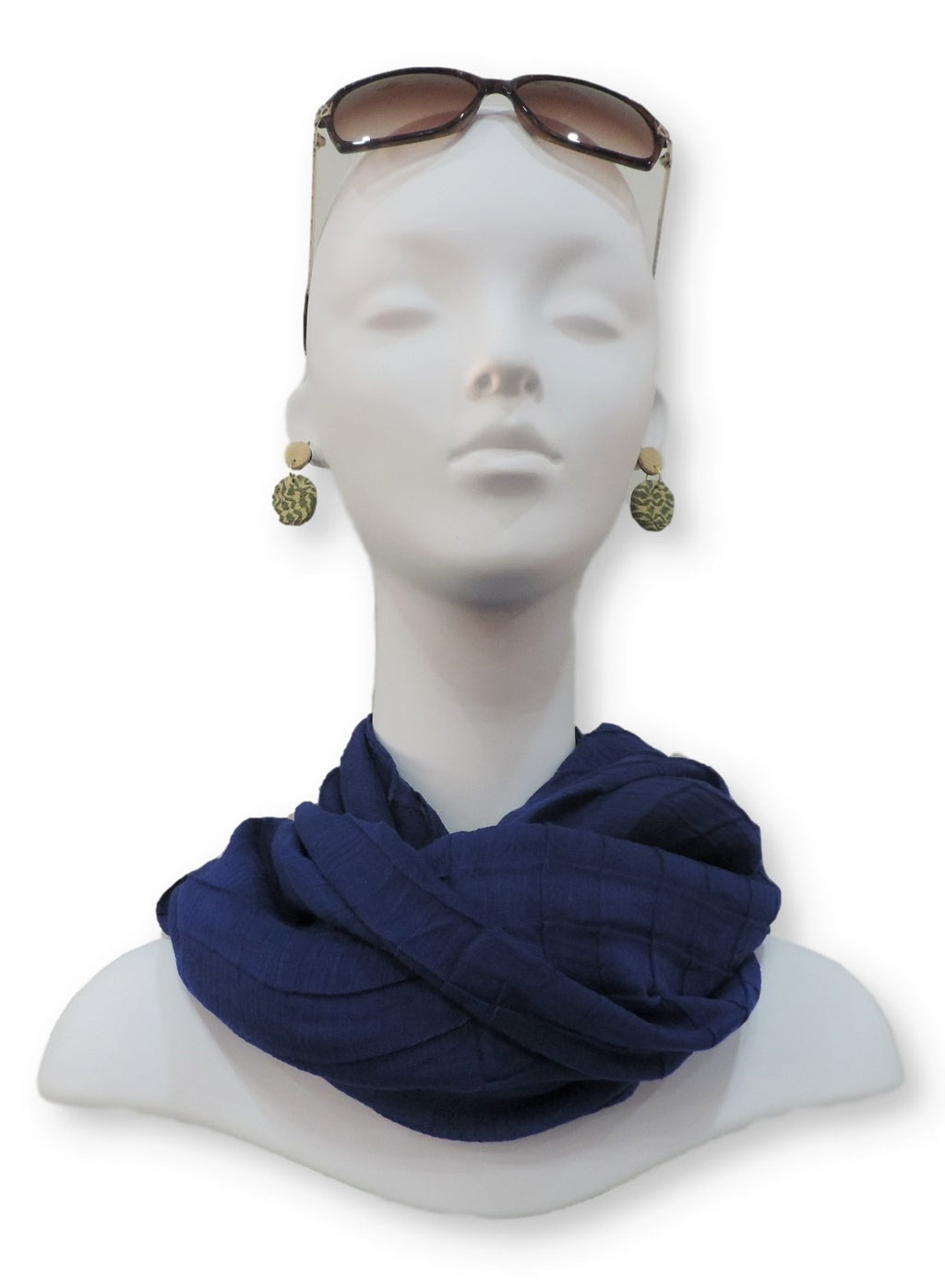 Royal Blue Cotton Pleated Scarf - Global Trendz Fashion®