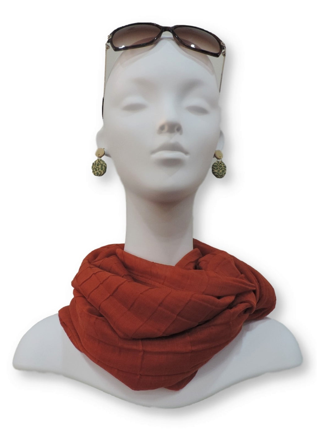 Orange Red Cotton Pleated Scarf - Global Trendz Fashion®