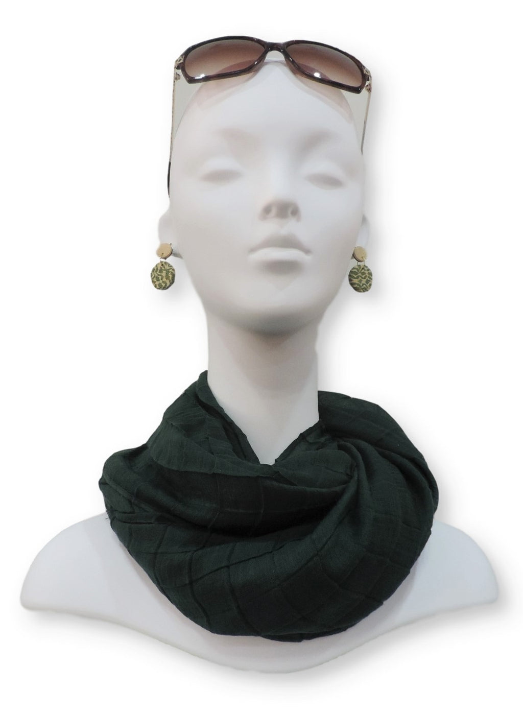 Tertiary Green Cotton Pleated Scarf - Global Trendz Fashion®
