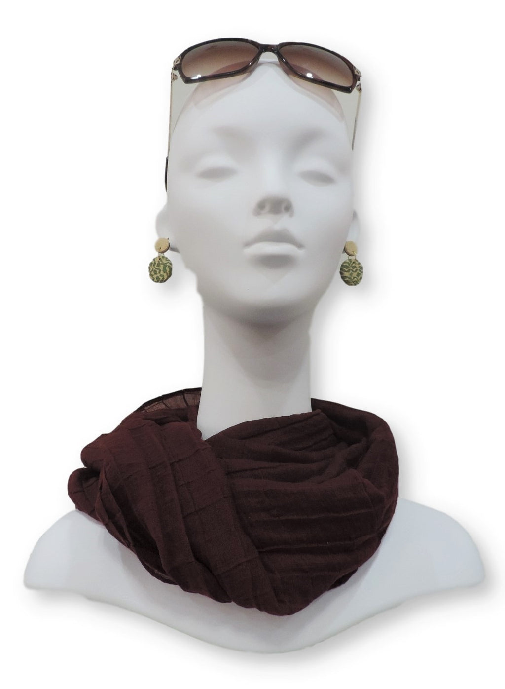 Red Plum Cotton Pleated Scarf - Global Trendz Fashion®