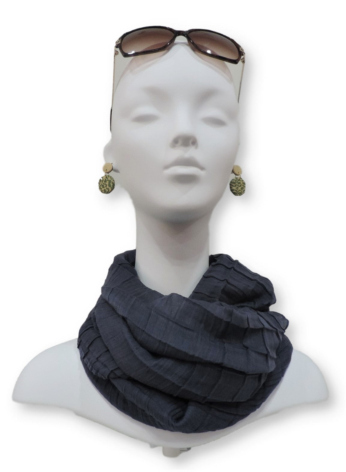 Steel Grey Cotton Pleated Scarf - Global Trendz Fashion®