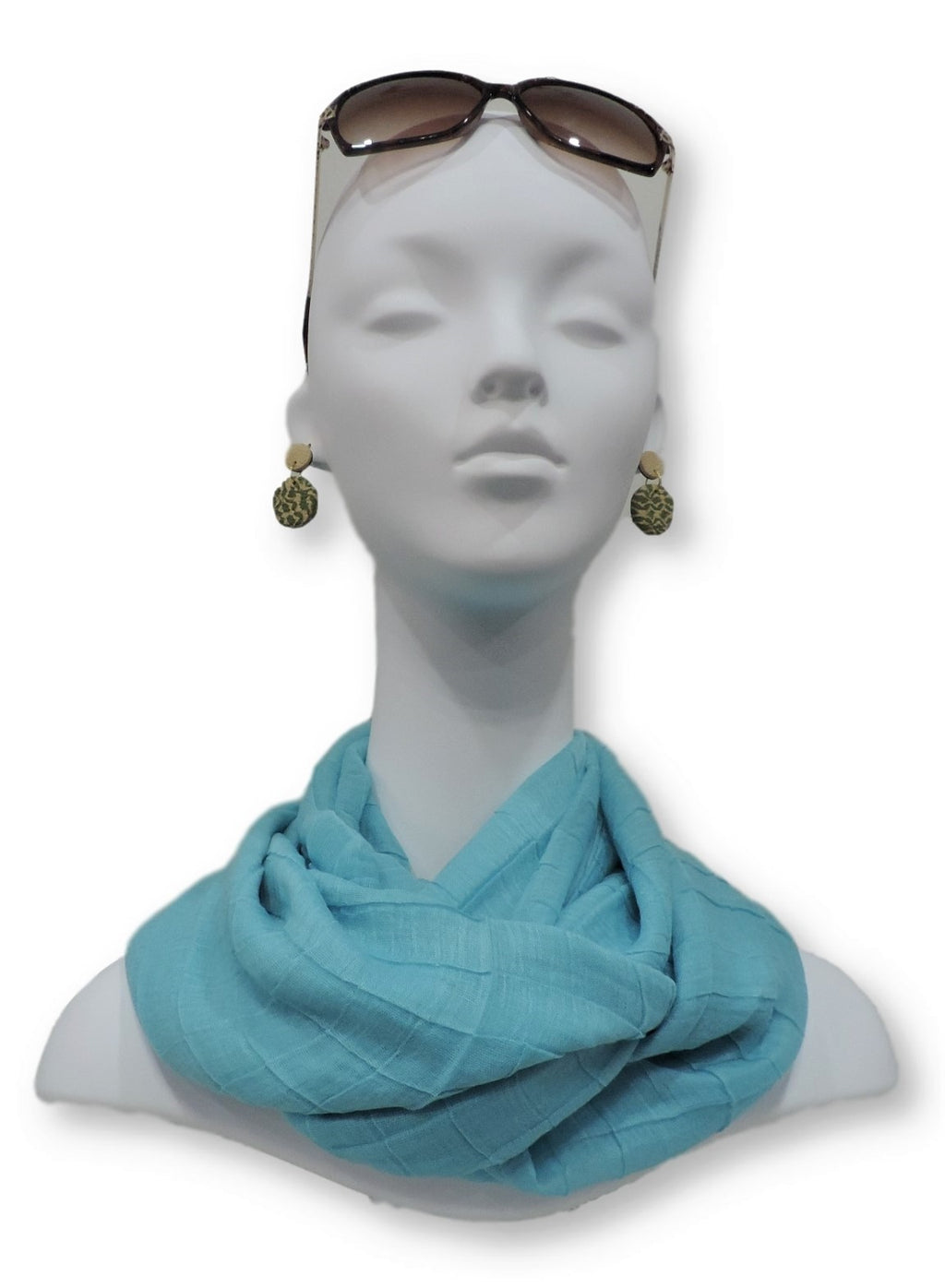 Turquoise Cotton Pleated Scarf - Global Trendz Fashion®