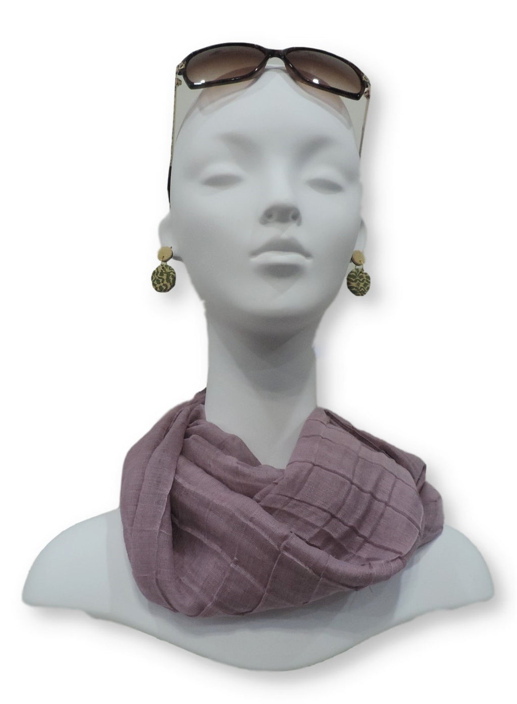 Mauve Purple Cotton Pleated Scarf - Global Trendz Fashion®
