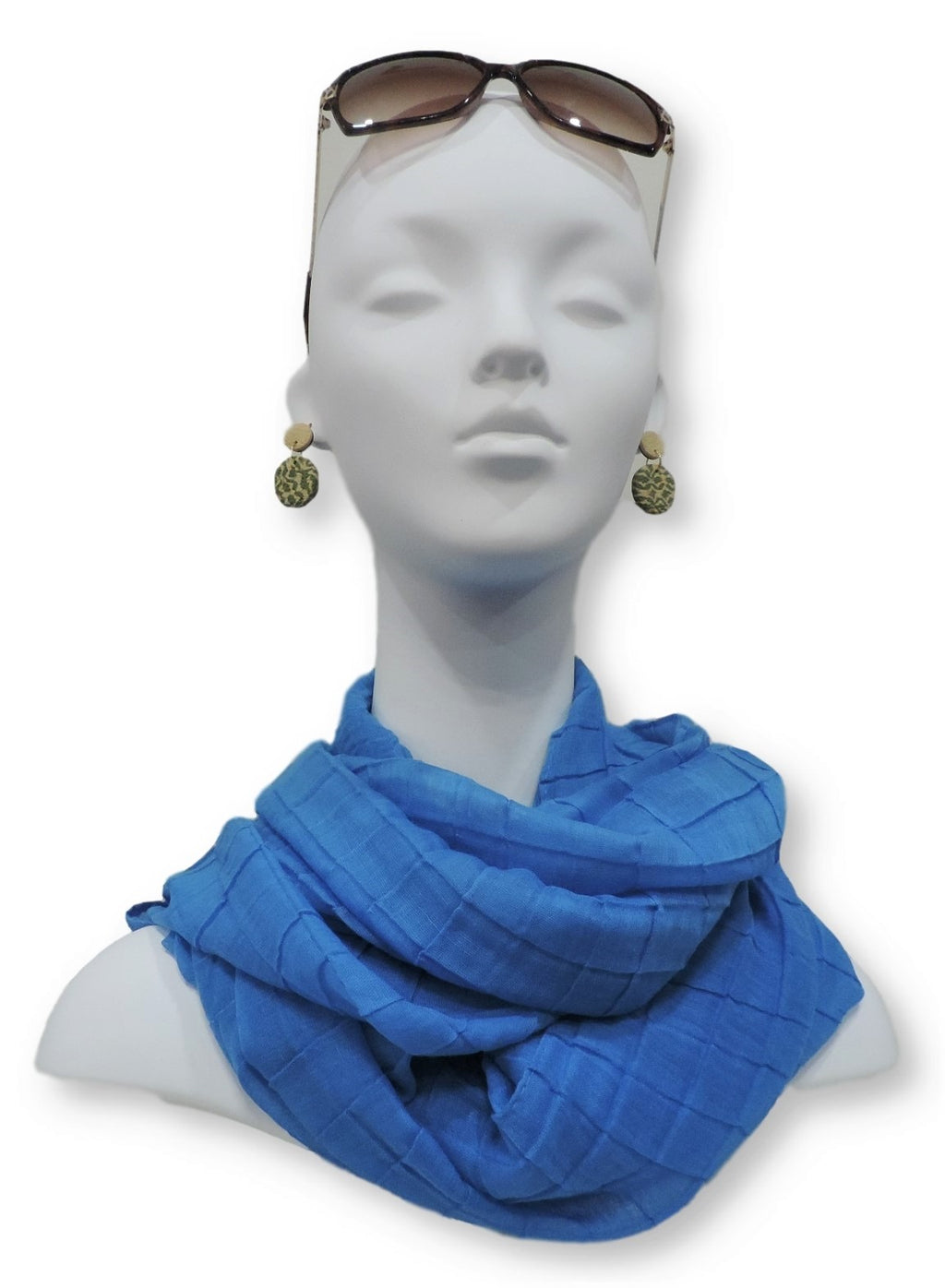 Happy Blue Cotton Pleated Scarf - Global Trendz Fashion®