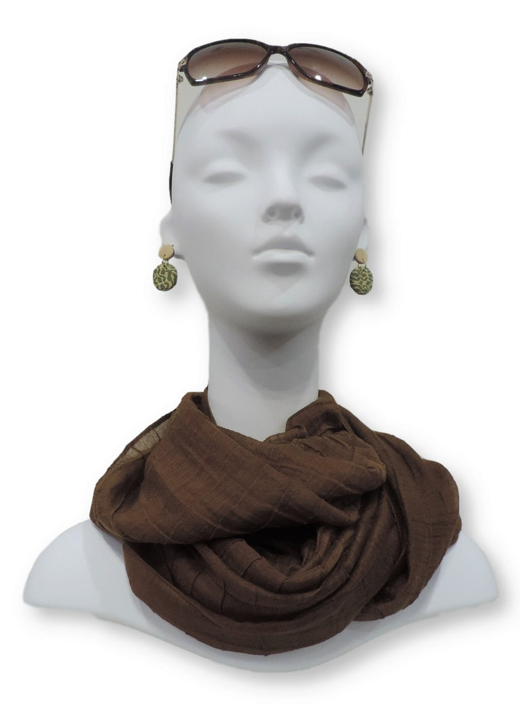 Chocolate Brown Cotton Pleated Scarf - Global Trendz Fashion®