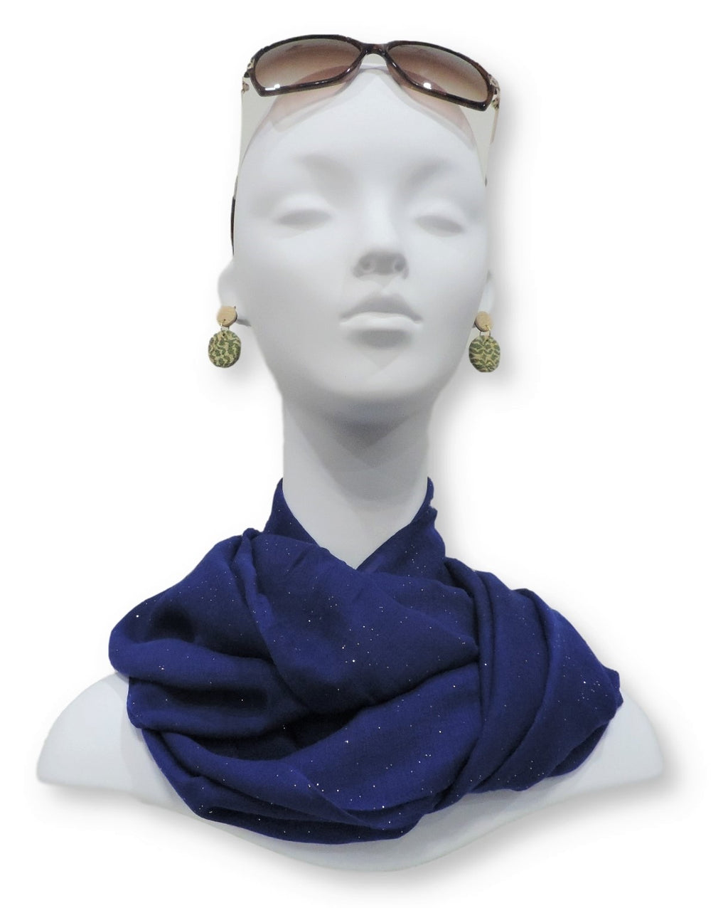 Royal Blue Glitter Viscose  Scarf - Global Trendz Fashion®