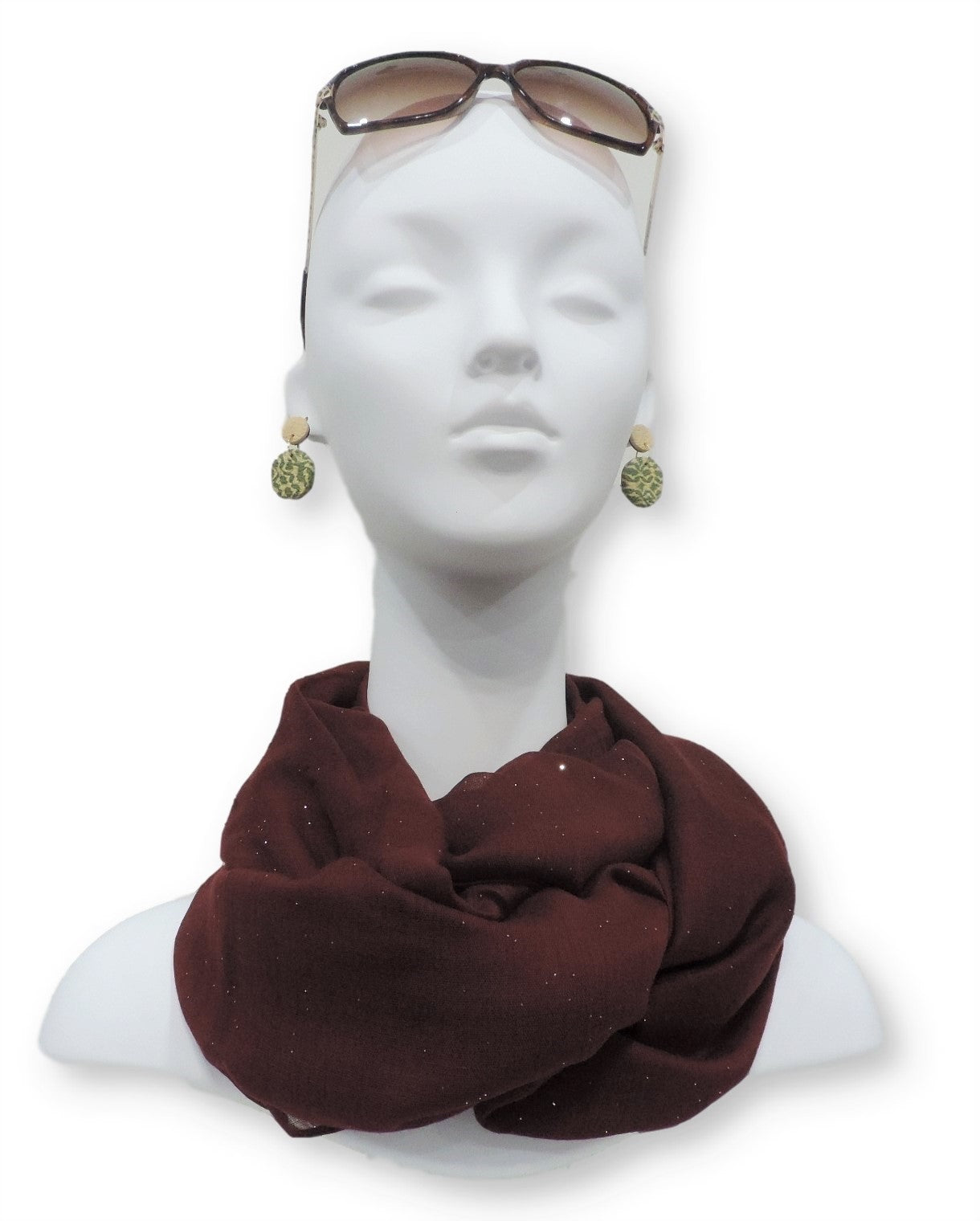 Maroon Glitter Viscose Scarf - Global Trendz Fashion®