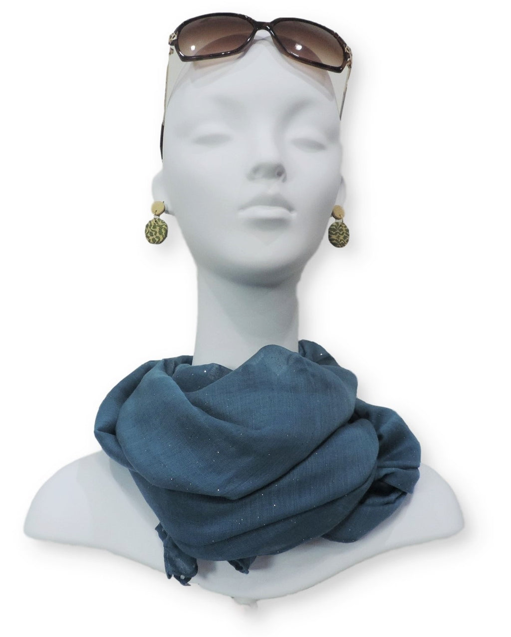 Prussian Blue Glitter Viscose Scarf - Global Trendz Fashion®