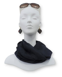 Navy Blue Glitter Viscose Scarf - Global Trendz Fashion®