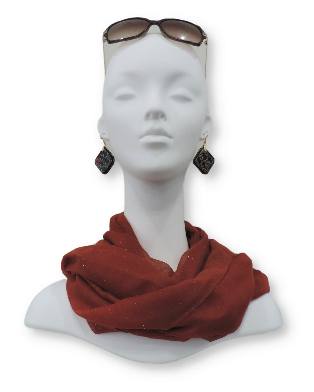 Red Orange Glitter Viscose Scarf - Global Trendz Fashion®