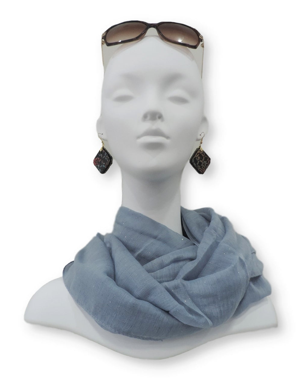 Light Grey Glitter Viscose Scarf - Global Trendz Fashion®
