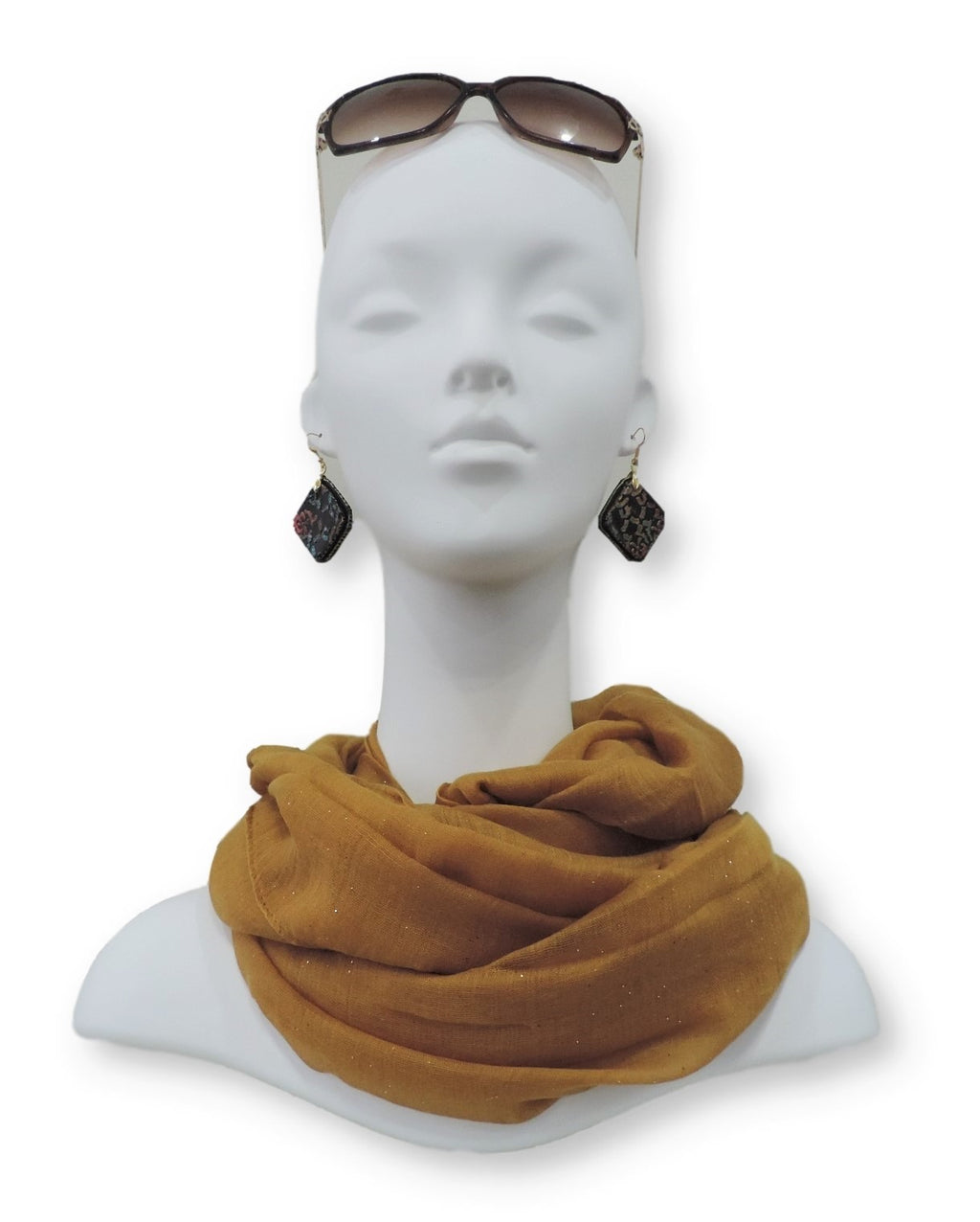 Tan Gold Glitter Viscose Scarf - Global Trendz Fashion®