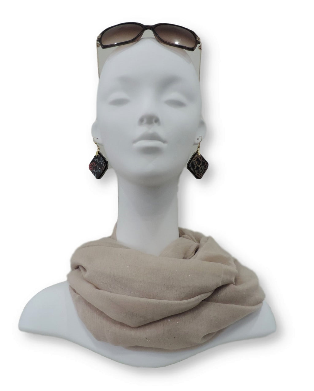 Light Beige Glitter Viscose Scarf - Global Trendz Fashion®