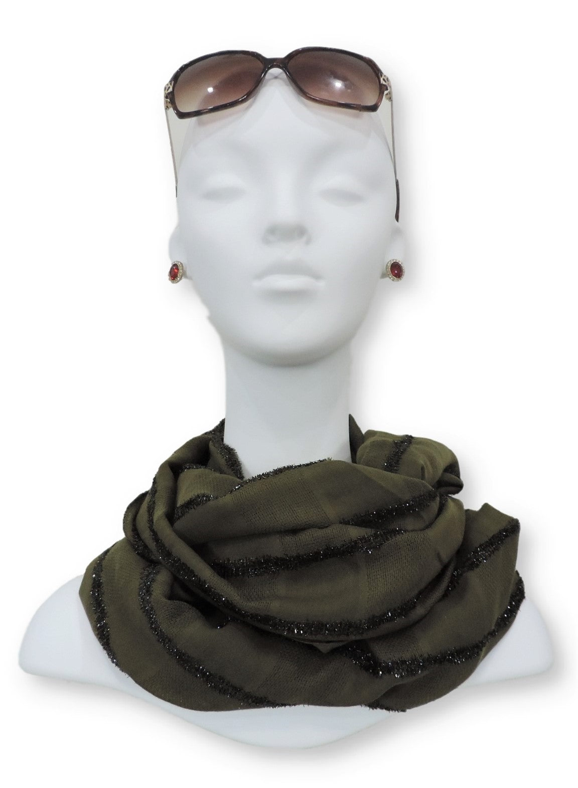 Forest Green Sparkle Cotton Scarf - Global Trendz Fashion®
