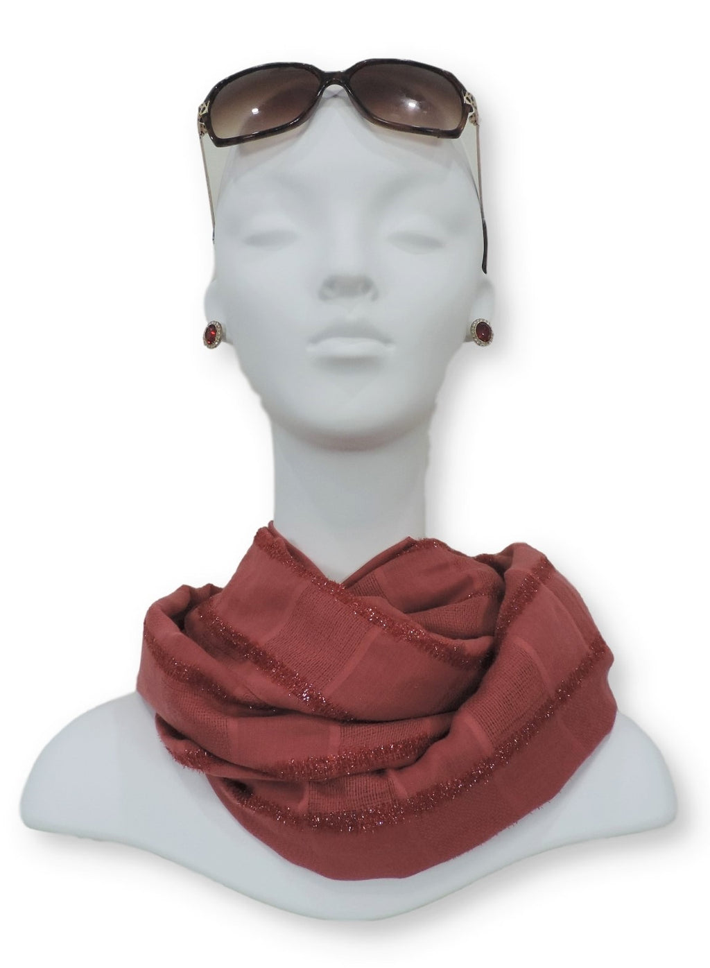Blush Red Sparkle Cotton Scarf - Global Trendz Fashion®