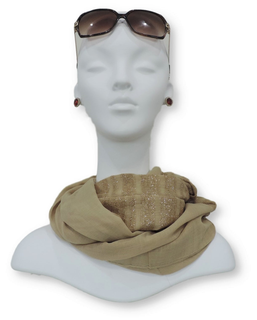 Beige Sparkle Cotton Scarf - Global Trendz Fashion®