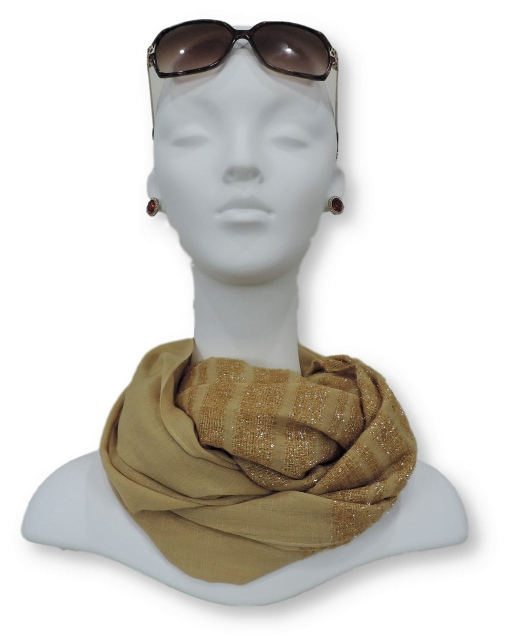 Yellow Beige Sparkle Cotton Scarf - Global Trendz Fashion®