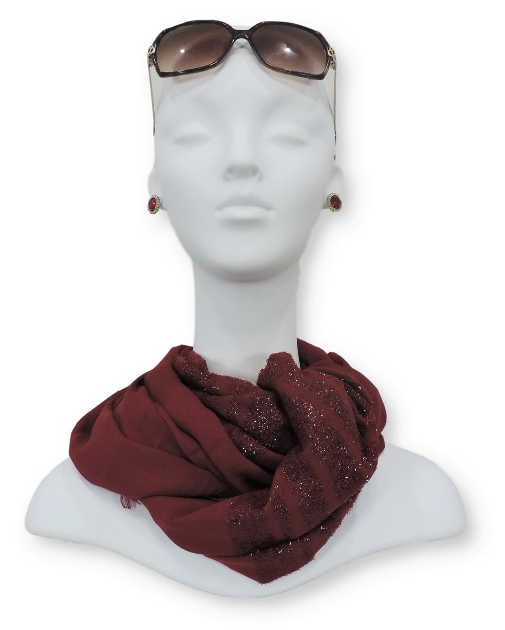 Maroon Sparkle Cotton Scarf - Global Trendz Fashion®