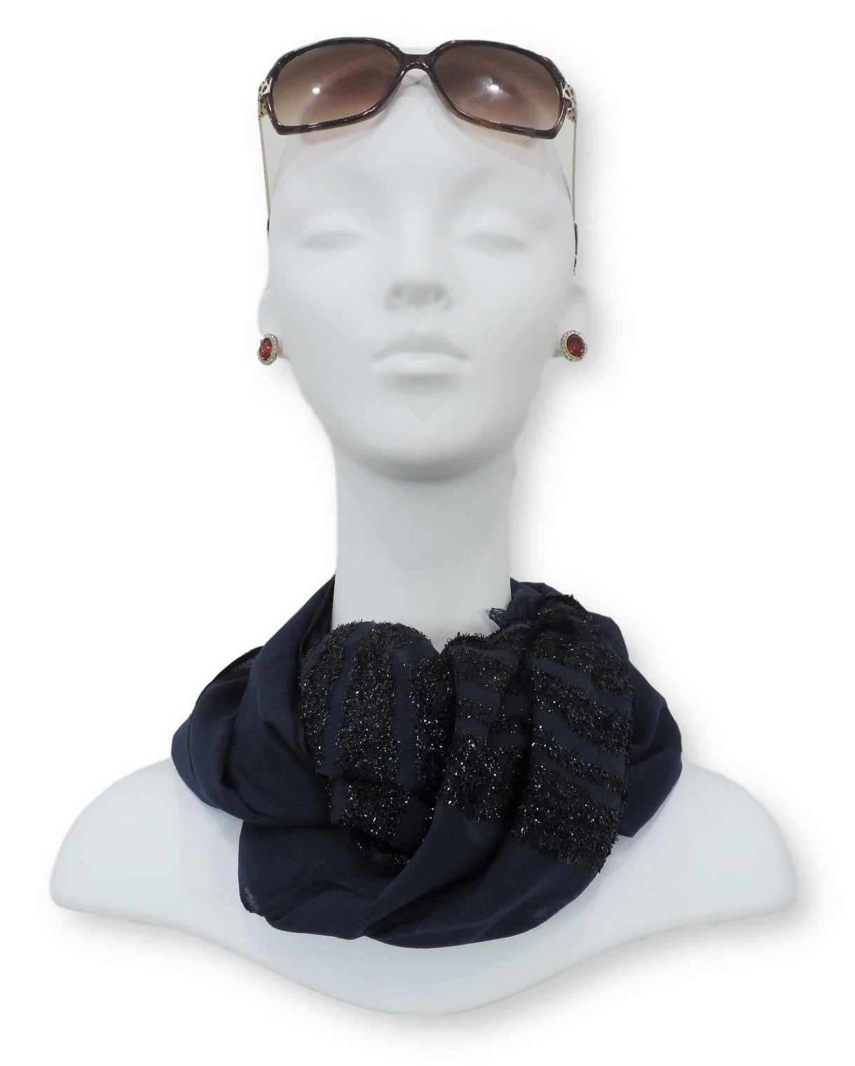 Navy Blue Sparkle Cotton Scarf - Global Trendz Fashion®