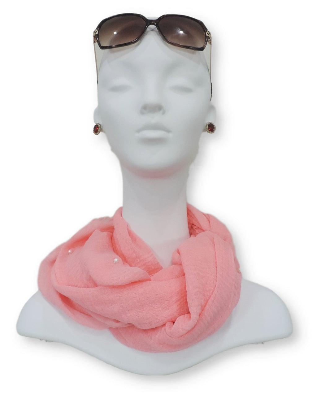 Peach Crinkle Pearl Scarf - Global Trendz Fashion®