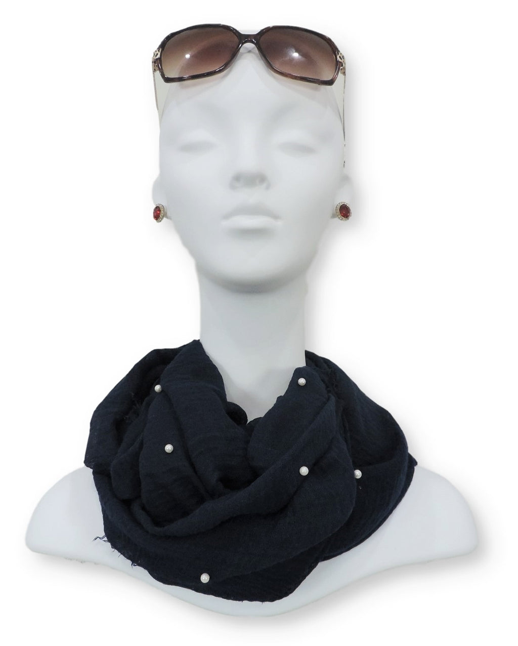 Navy Blue Crinkle Pearl Scarf - Global Trendz Fashion®