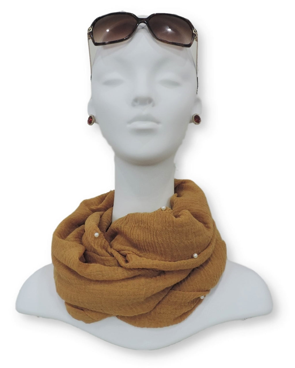 Tan Brown Crinkle Pearl Scarf - Global Trendz Fashion®
