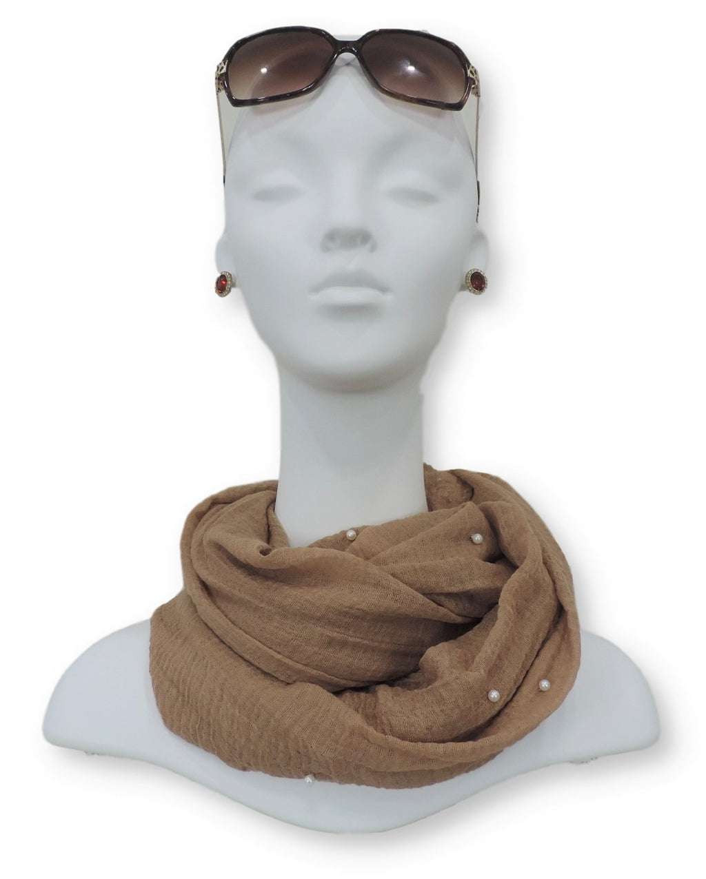 Light Brown Crinkle Pearl Scarf - Global Trendz Fashion®