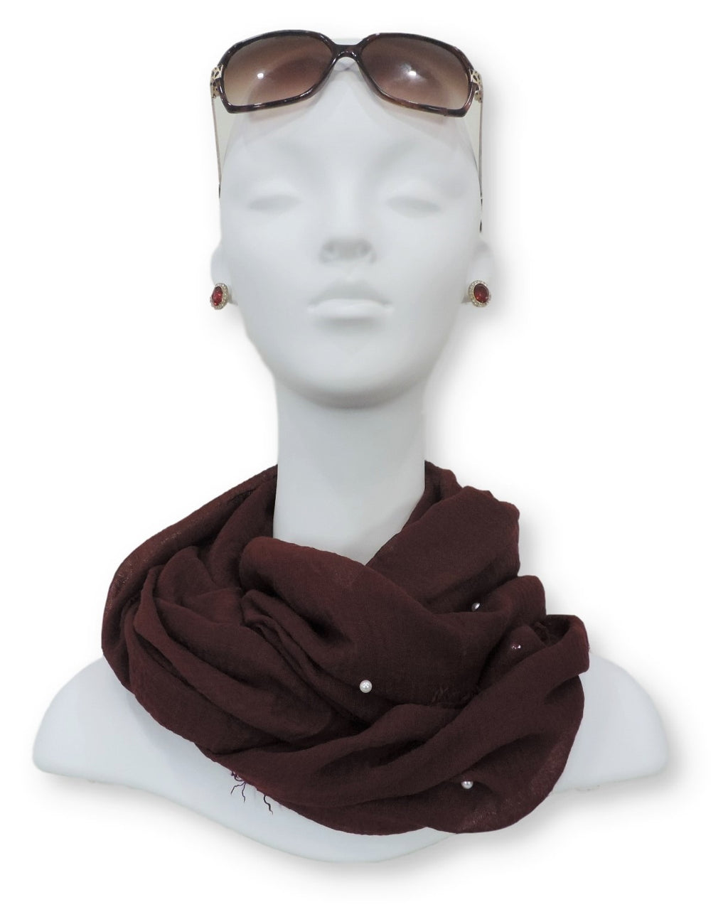 Maroon Crinkle Pearl Scarf - Global Trendz Fashion®