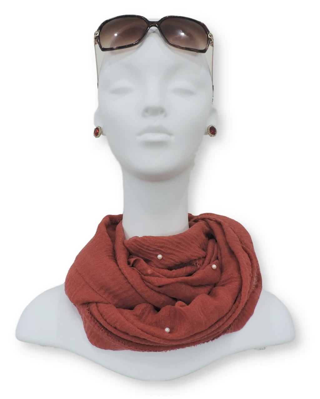 Red Orange Crinkle Pearl Scarf - Global Trendz Fashion®