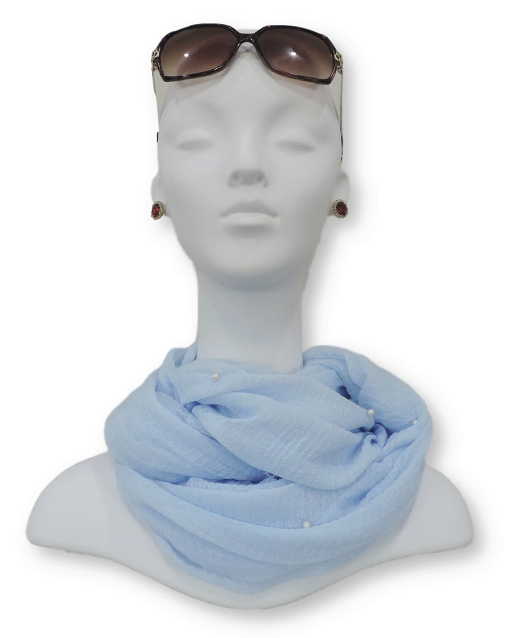 Sky Blue Crinkle Pearl Scarf - Global Trendz Fashion®