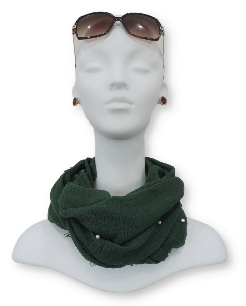 Dark Green Crinkle Pearl Scarf - Global Trendz Fashion®