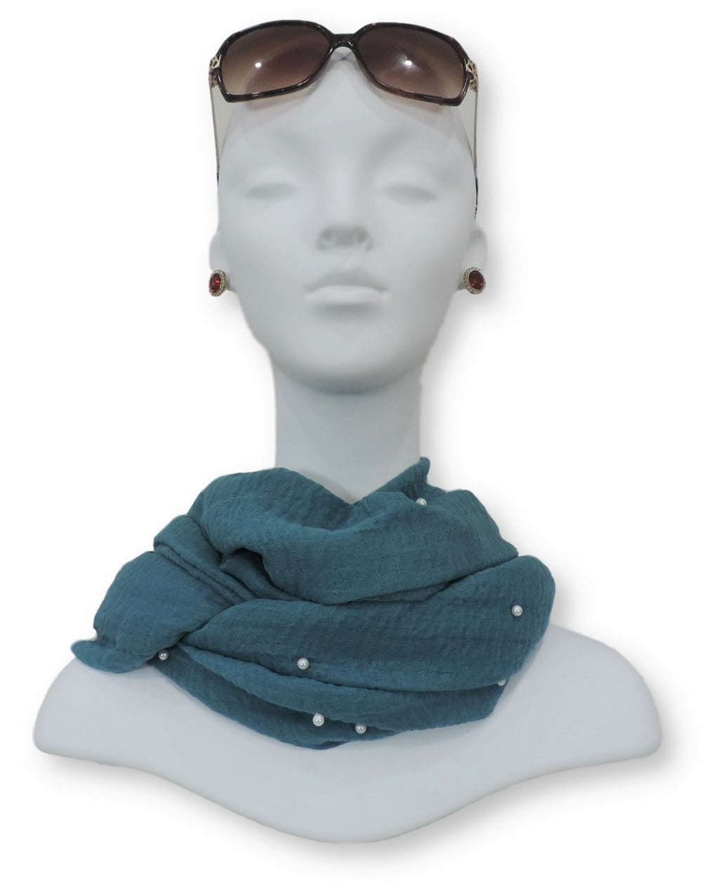 Moroccan Blue Crinkle Pearl Scarf - Global Trendz Fashion®
