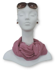 Existing Pink Crinkle Pearl Scarf - Global Trendz Fashion®