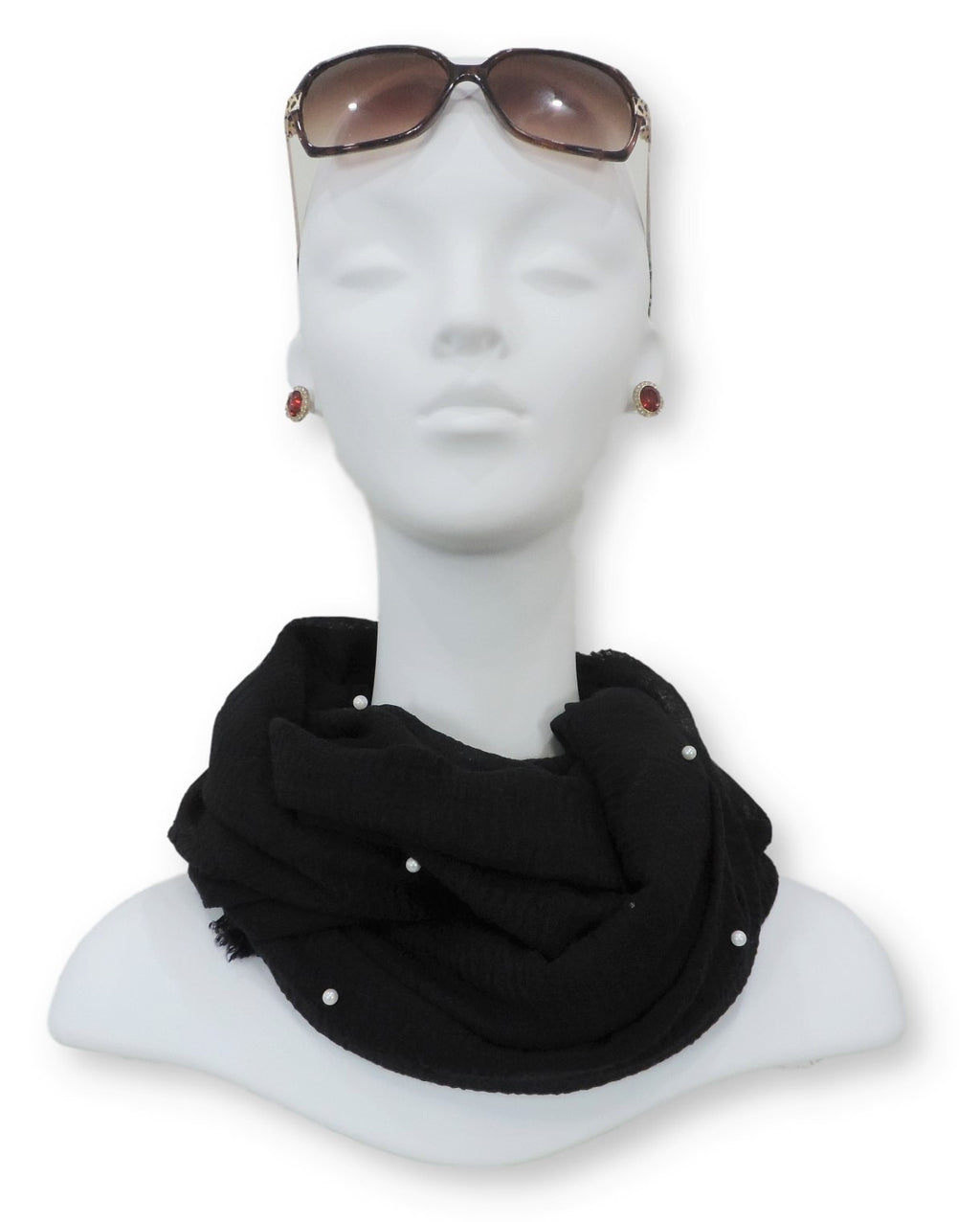 Jet Black Crinkle Pearl Scarf - Global Trendz Fashion®