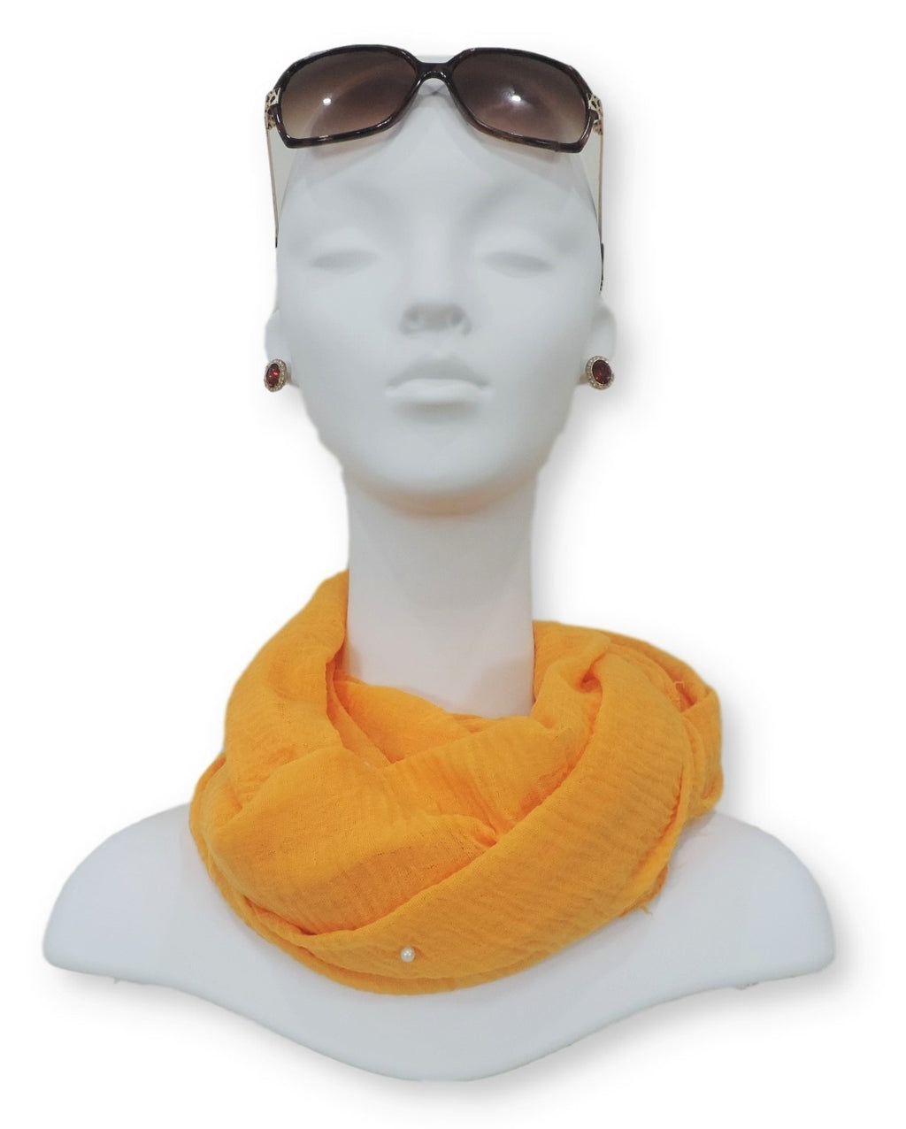Turmeric Yellow Crinkle Pearl Scarf - Global Trendz Fashion®