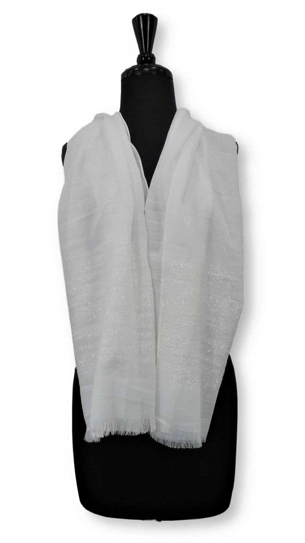Off White Sparkle Cotton Scarf - Global Trendz Fashion®