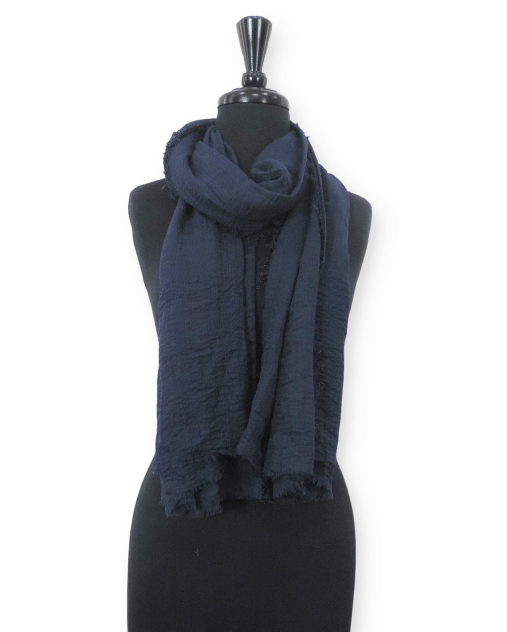 Navy Blue Bubble Cotton Scarf - Global Trendz Fashion®