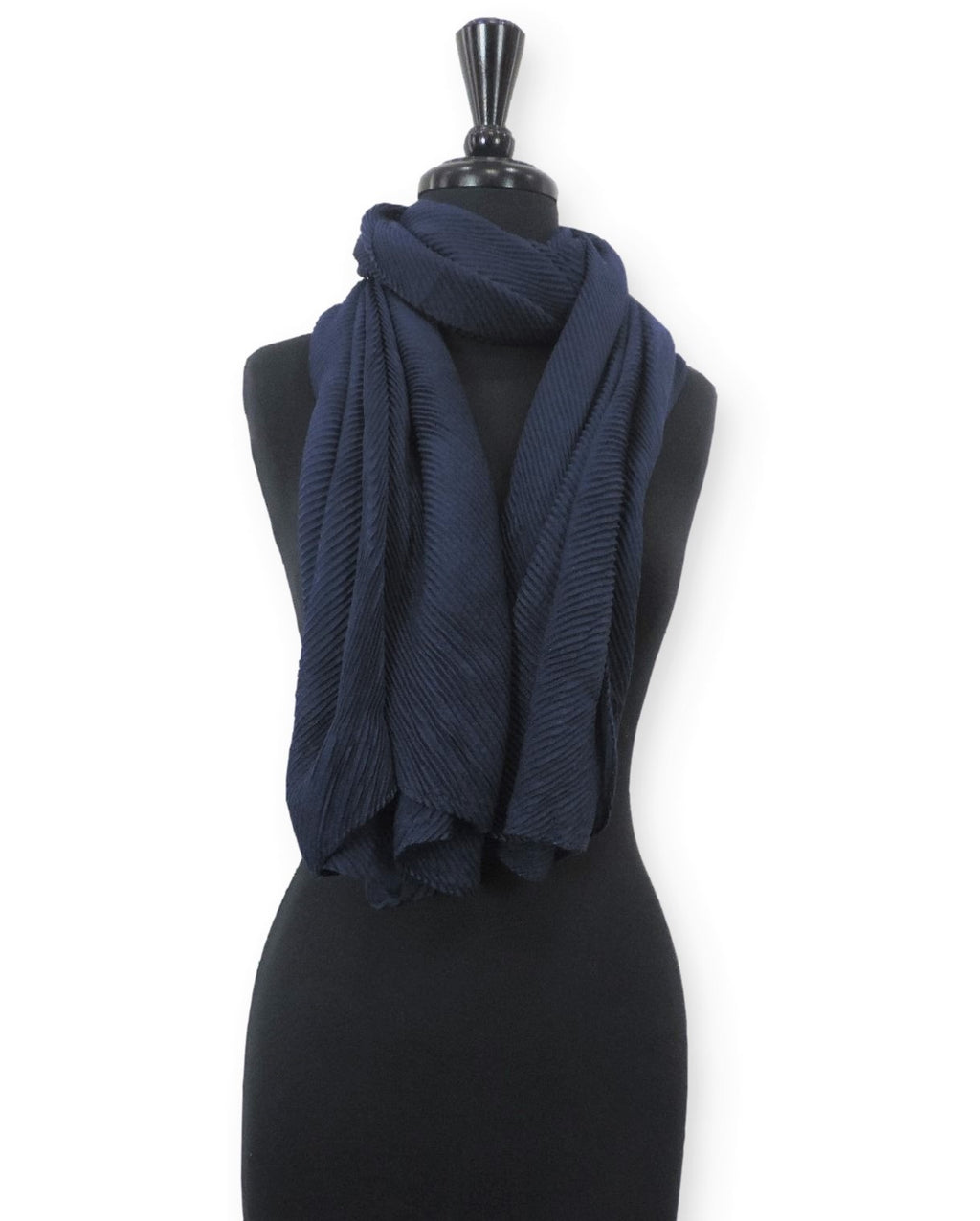 Navy Blue Cotton Wrinkle Scarf - Global Trendz Fashion®