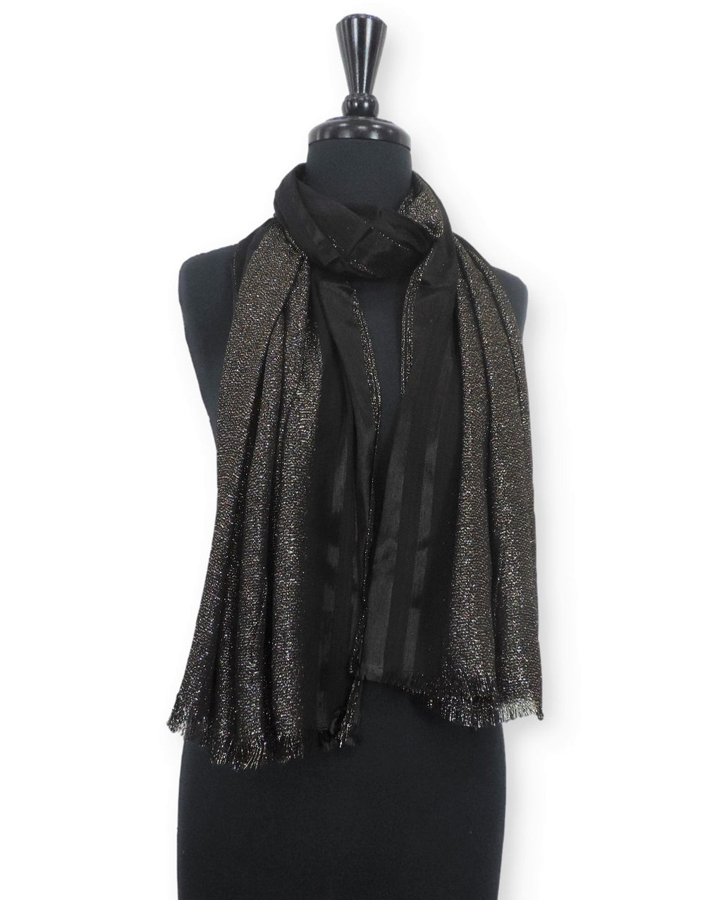 Black Shimmer Cotton Scarf - Global Trendz Fashion®