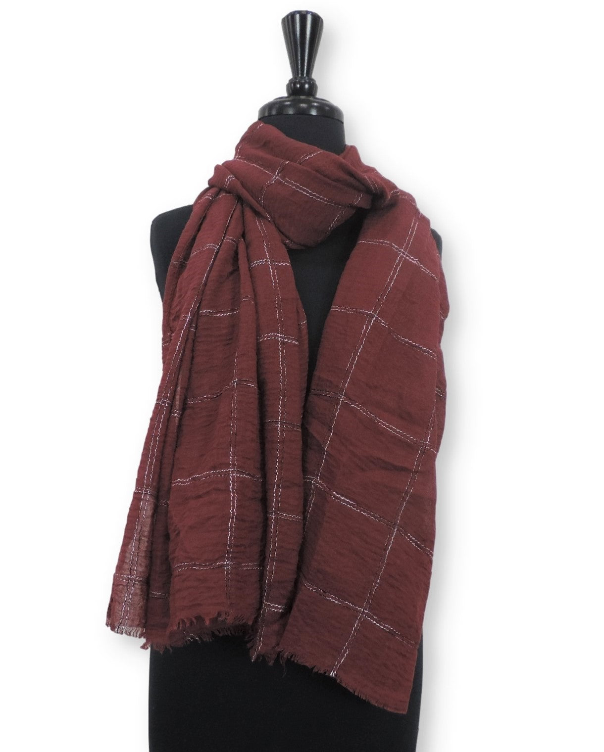 Currant Embroidered Bubble Cotton Scarf - Global Trendz Fashion®