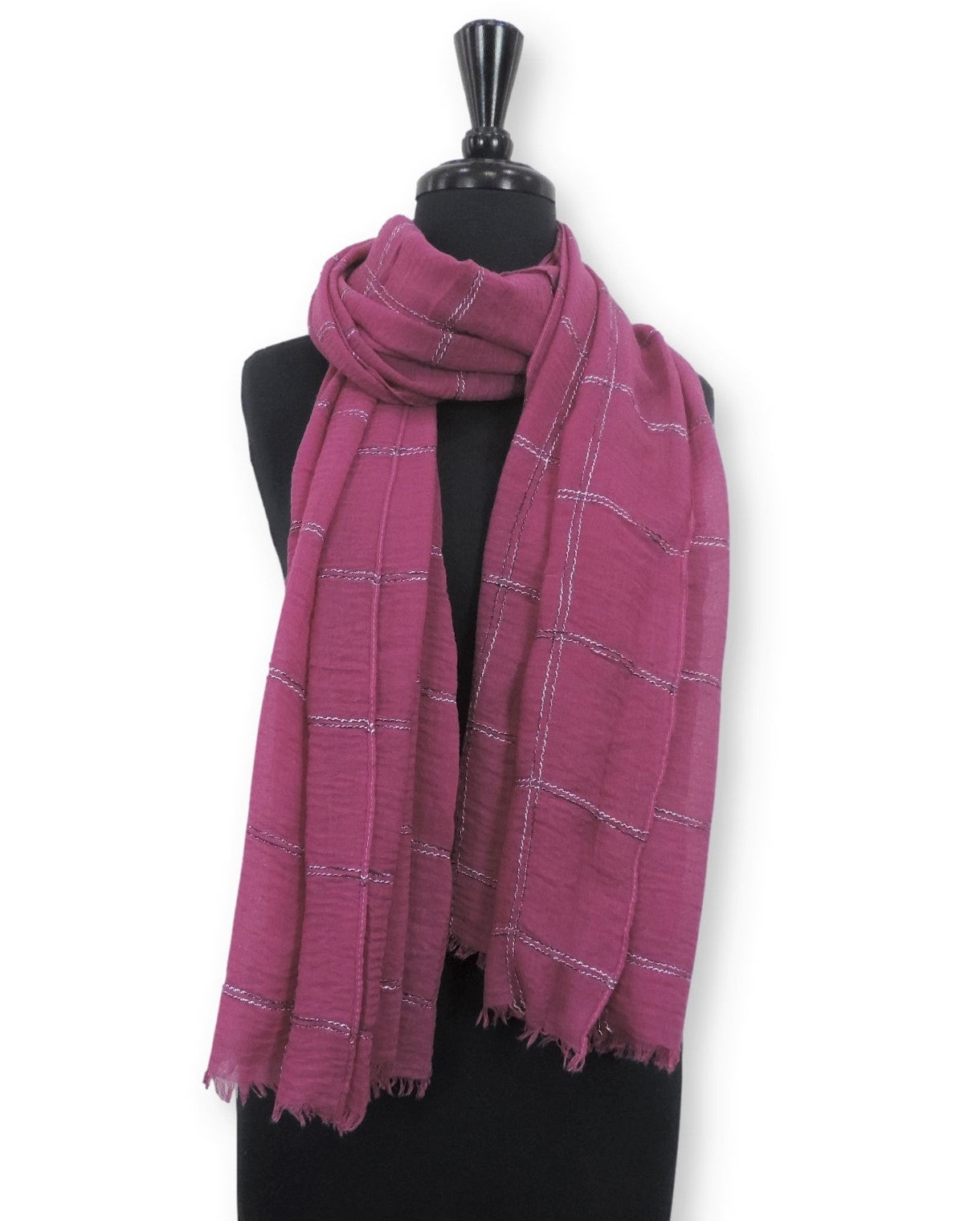 Magenta Embroidered Bubble Cotton Scarf - Global Trendz Fashion®