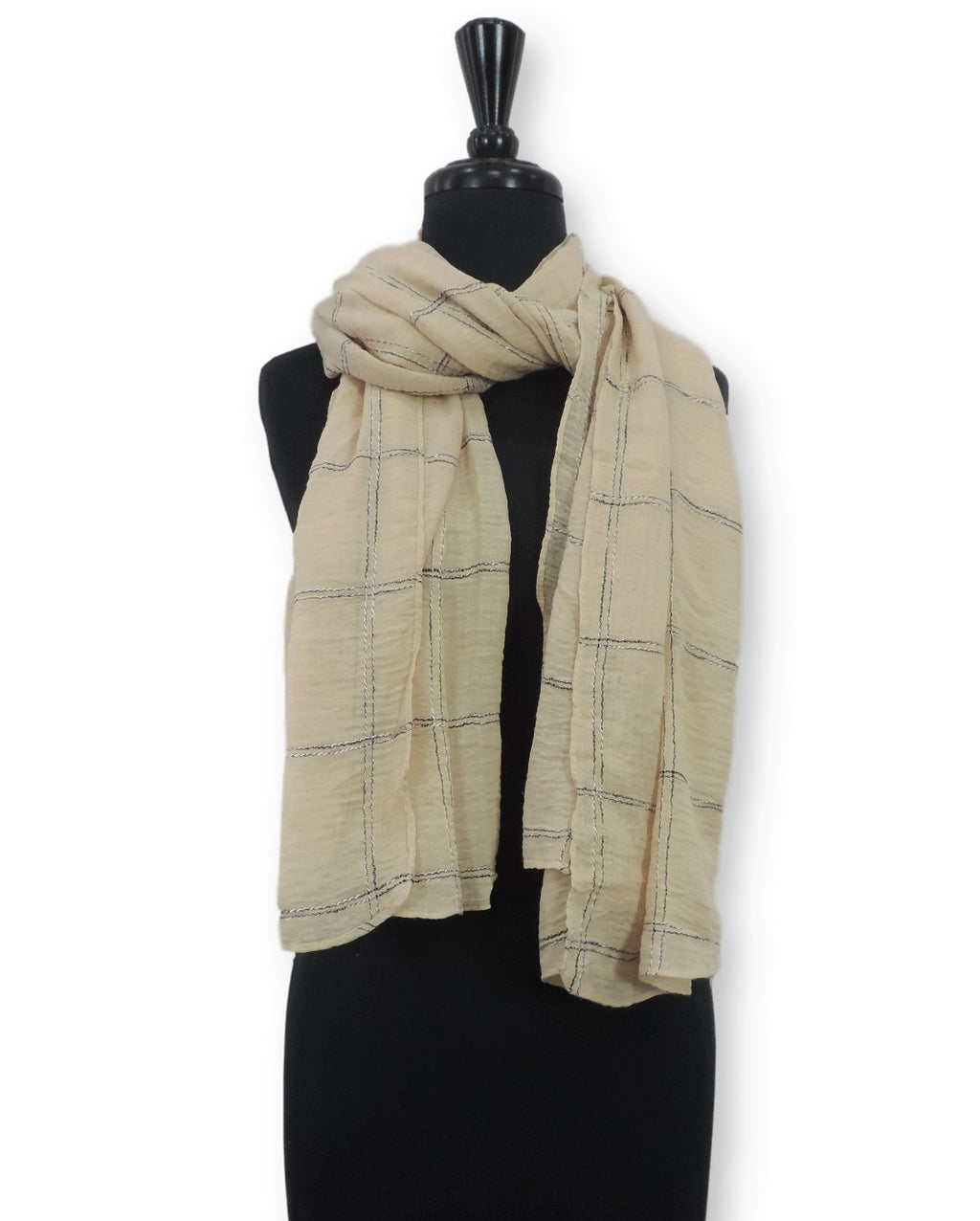 Cream Embroidered Bubble Cotton Scarf - Global Trendz Fashion®